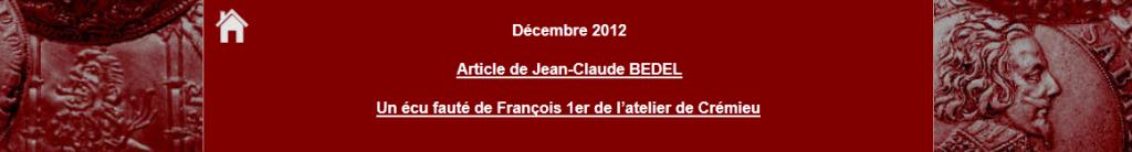 Article de Jean-Claude BEDEL Décembre 2012